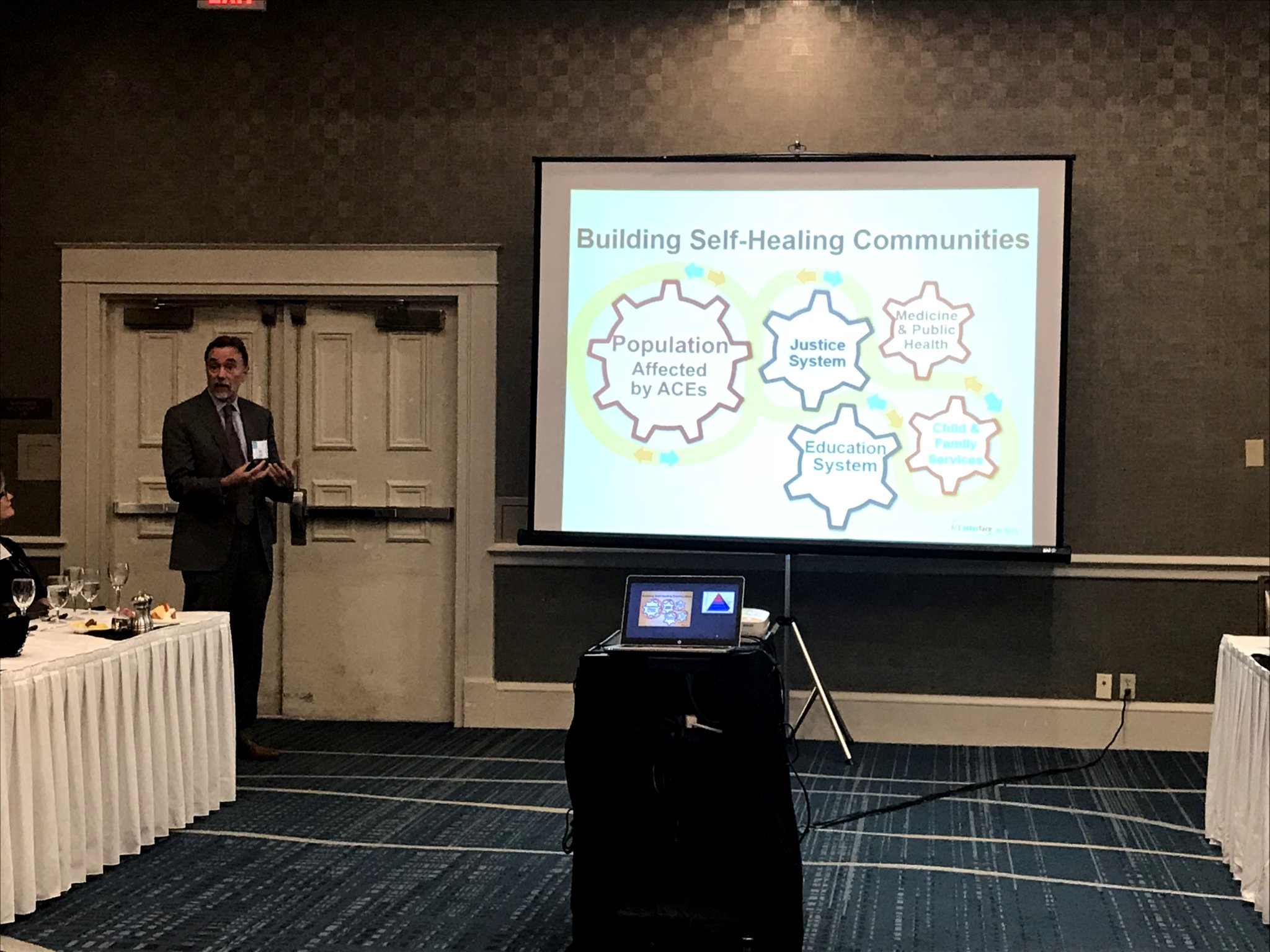 Dr. Robert Anda presenting to OK25by25 conference steering committee in March 2018. Photo courtesy of Linda Manaugh.